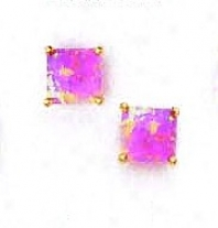 14k Golden 6 Mm Square Pink Opal Post Stud Earrings