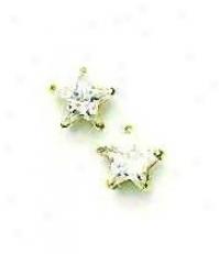 14k Yellow 6 Mm Start Cz Friction-back Post Stud Earrings