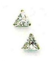 14k Yellow 6 Mm Trjlliant Cz Post Stud Earrings