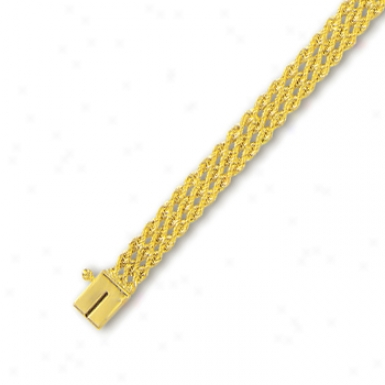14k Yellow 6 Mm Triple Row Solid Rope Bracelet - 7 Inch