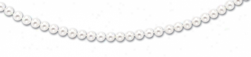 14k Yellow 6.5-7 Mm Fresh Water White Pearl Necklace - 20 In