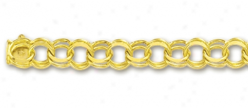 14k Yellow 6.5 Mm Charm Bracelet - 7 Inch