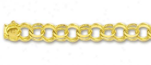 14k Yellow 6.5 Mm Charm Bracelet - 8 Inch
