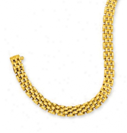 14k Yellow 6.5 Mm Five Row Panther Bracelet - 7 Inch