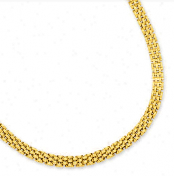 14k Yellow 6.5 Mm Five Row Panther Necklac - 17 Inch