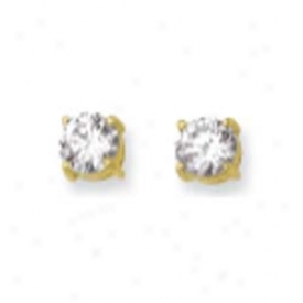 14k Yellow 6mm Round Cz Earrings