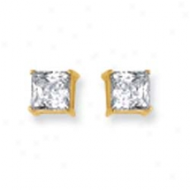 14k Yellow 6mm Regulate Cz Earrings