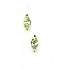 14k Yellow 6x3 Mm Marquise Cz Post Stud Earrings