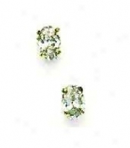 14k Yellow 6x4 Mm Oval Cz Friction-back Office Stud Earrings