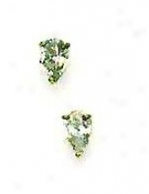 14k Yellow 6x4 Mm Pear Cz Friction-back Post Stud Earrings