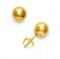 14k Yellow 7 Mm Ball Screw-back Earrings