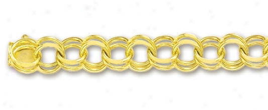 14k Yellow 7 Mm Charm Bracelet - 7 Inch