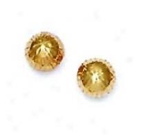 14k Yellow 7 Mm Diamond-cut Bal lEarrings