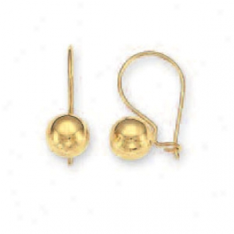 14k Yellow 7 Mm French Wire Ball Earrings