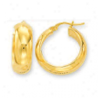 14k Golden 7 Mm Medium Mirror Hoop Earrings