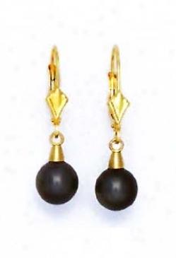 14k Golden 7 Mm Round Black Crystal Drop Drop Earrings