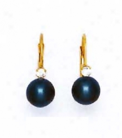 14k Yellow 7 Mm Round Black Crystal Pearl Earrings