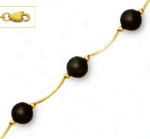 14k Yellow 7 Mm Round Black Crystal Pearl Necklace