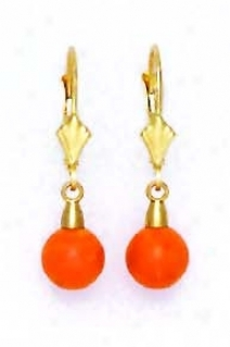 14k Yellow 7 Mm Make full Coral-orange Crystal Pearl Earrings