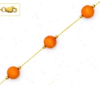 14k Yellow 7 Mm Round Coral-orange Crystal Pearl Necklace