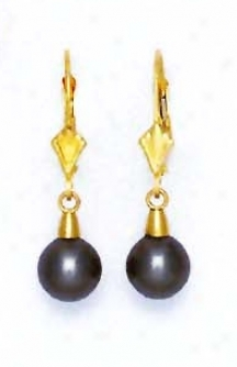 14k Yellow 7 Mm Round Dark-gray Crystal Pearl Drop Earrings