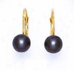 14k Yeellow 7 Mm Round Dark-gray Crystal Pearl Earrings