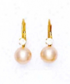 14k Yellow 7 Mm Round Light-cream Crystal Jewel Earrings