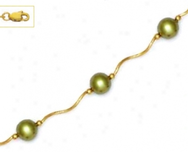 14k Yellow 7 Mm Round Light-green Crystal Pearl Necklace - Ch
