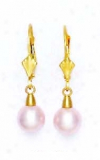 14k Yellow 7 Mm Round Light-rose Crystal Pearl Drop Earfings