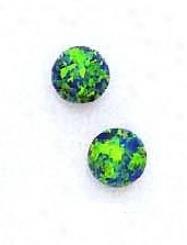14k Yellow 7 Mmm Round Mystic Green Opal Earrings