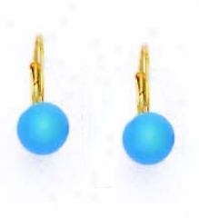 14k Yellow 7 Mm Rounr Turquoise-blue Crystal Pearl Earrings