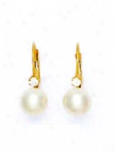 14k Yellow 7 Mm Round White Crystal Pearl Earrings