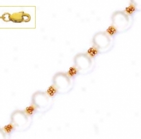 14k Yellow 7 Mm Round White Crystal Pearl Necklace - Choice 1