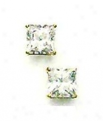 14k Yellow 7 Mm Just Cz Friction-back Post Stud Earrings