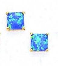 14k Yellow 7 Mm Square Dark Blue Opal Earrings