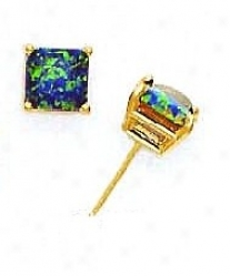 14k Yellow 7 Mm Square Mystic Green Opal Earrings