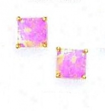 14k Yellow 7 Mm Square Pink Opal Post Stud Earrings