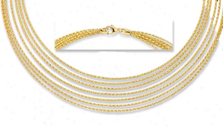 14k Yellow 7 Strand Necklace - 18 Inch
