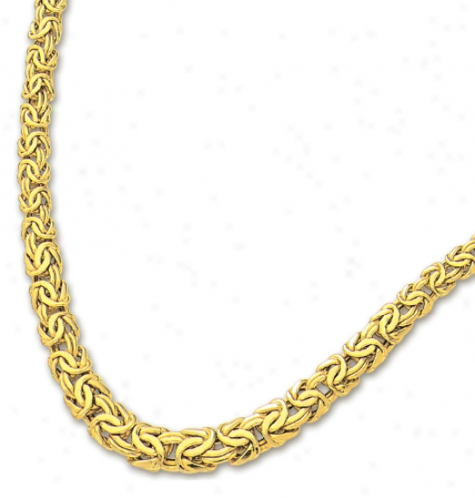 14k Yellow 7.5-11 Mm Graduated Byzantine Necklace - 17 Inch
