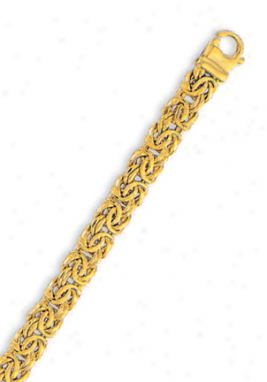 14k Yellkw 7.5 Mm Light Byzantine Bracdlet - 8 Inch