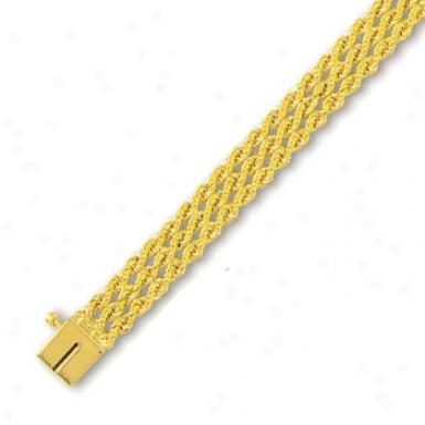 14k Golden 7.5 Mm Triple Row Hard Rope Bracelet - 7 Inch