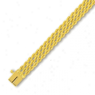 14k Yellow 7.5 Mm Triple Row Soli Rope Bracelet - 8 Inch