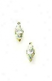 14k Yellow 7z4 Mm Marquise Cz Post Stud Earrings