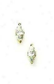 14k Yellow 7z4 Mm Marquise Cz Post Stud Earrings