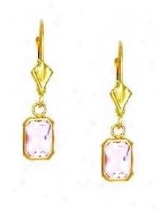 14k Yellow 7x5 Mm Emerald-cut Rose-pink Cz Drop Earrings