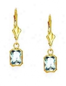 14k Yellow 7x5 Mm Emerald-cut Topaz-blue Cz Drop Earrings