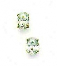 14k Yellow 7x5 Mm Oval Cz Friction-back Post Stud Earrings