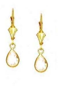 14k Yellow 7x5 Mk Pear Clear Cz Drop Earrings