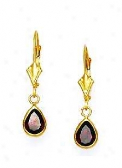 14k Yellow 7x5 Mm Pear Garnet-red Cz Drop Earrings