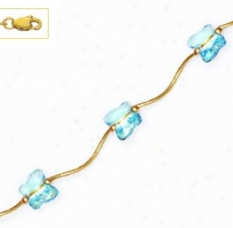 14k Yellow 8 Mm Butterfly Blue Crystal Necklace - Choice 16-i